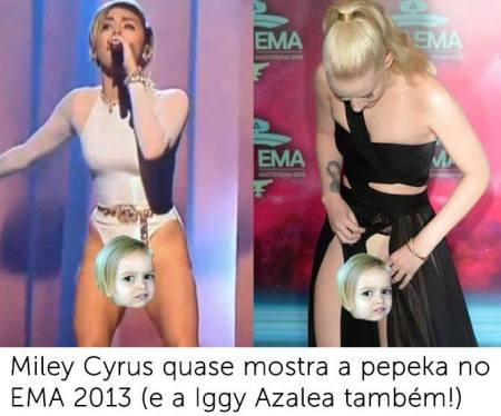 #AMAs: Miley Cyrus e Iggy Azalea quase mostram a piriguita no EMA